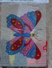 Pink Butterfly Printed 6 Count Binca Cross Stitch Kit